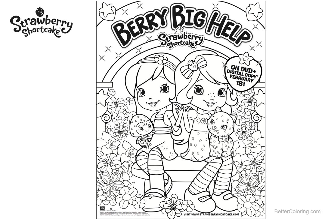 Free Strawberry Shortcake Coloring Pages Berry Big Help printable