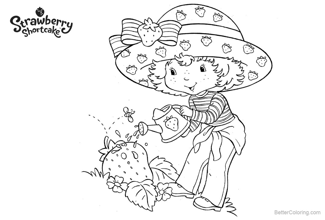 Free Strawberry Shortcake Coloring Pages Busing Watering printable