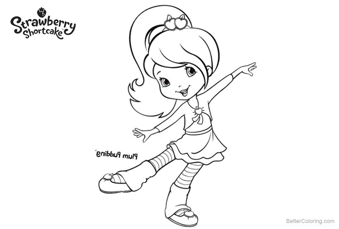 Free Strawberry Shortcake Coloring Pages Friend Plum Pudding printable