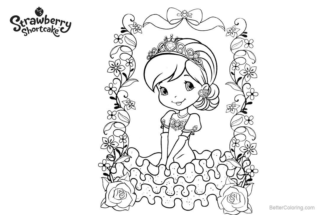 image about Strawberry Shortcake Printable Coloring Pages titled Strawberry Shortcake Coloring Webpages Woman inside of the Bouquets