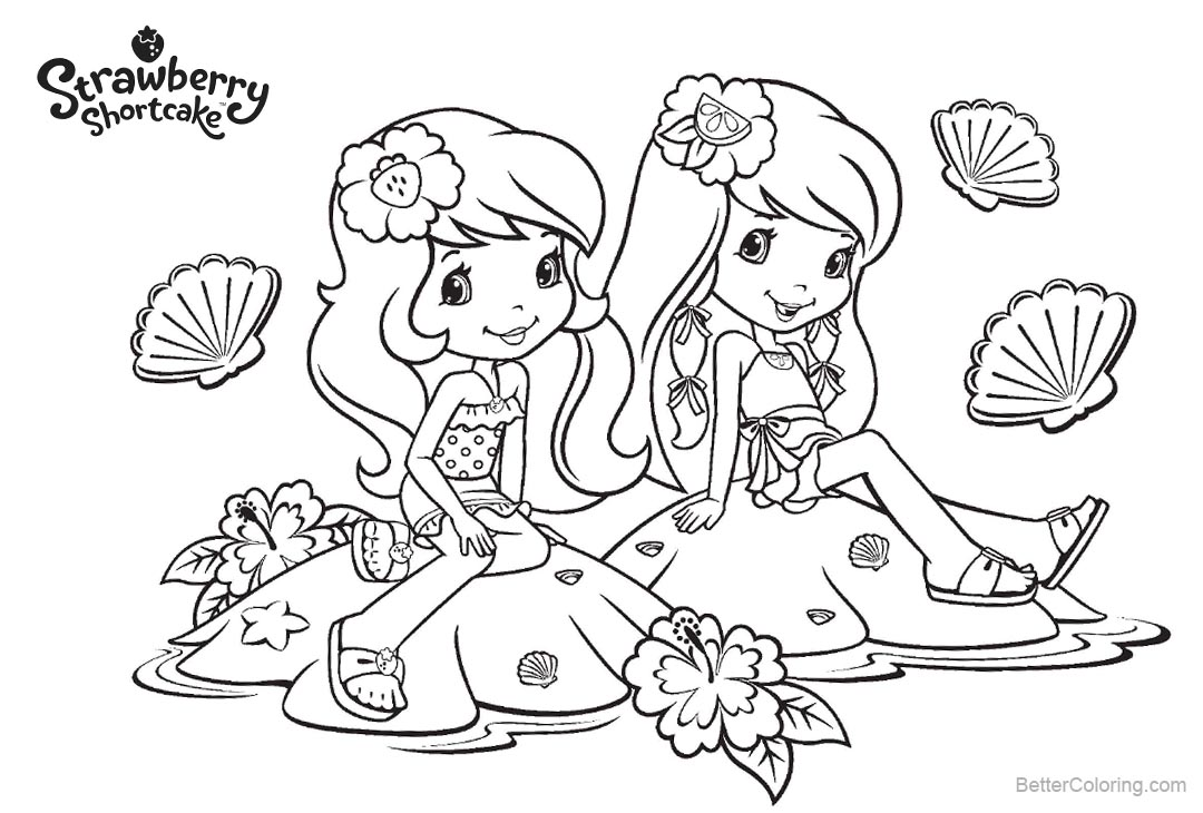 Free Strawberry Shortcake Coloring Pages Sitting on the Shells printable