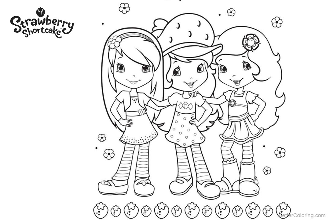 Free Strawberry Shortcake Coloring Pages Three Girls printable