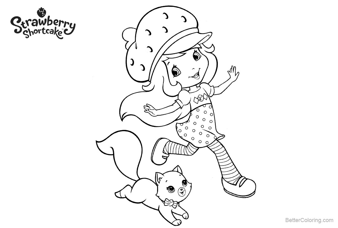Free Strawberry Shortcake Coloring Pages with Cat printable