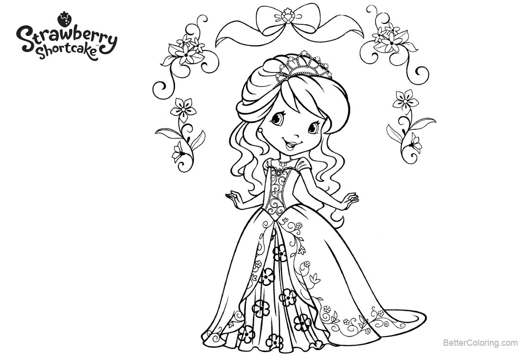 Free Strawberry Shortcake Coloring Pages with FLowers printable