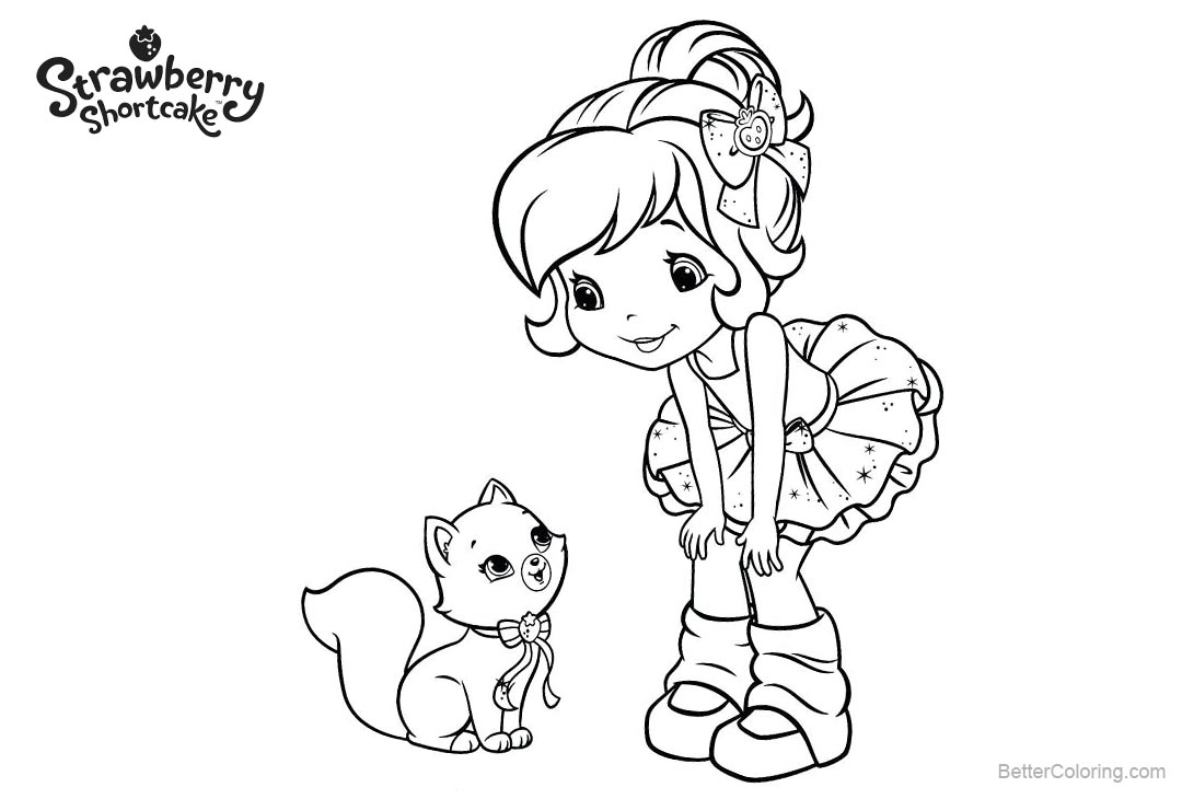 Free Strawberry Shortcake Coloring Pages with Pet printable