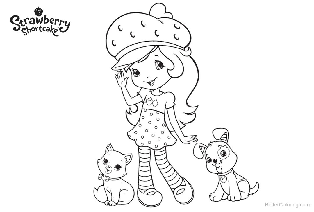 Free Strawberry Shortcake Coloring Pages with Two Pets printable