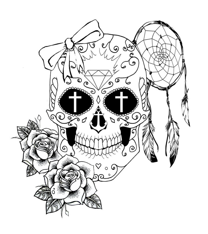 Free Sugar Skull Coloring Pages by chronokhalil printable