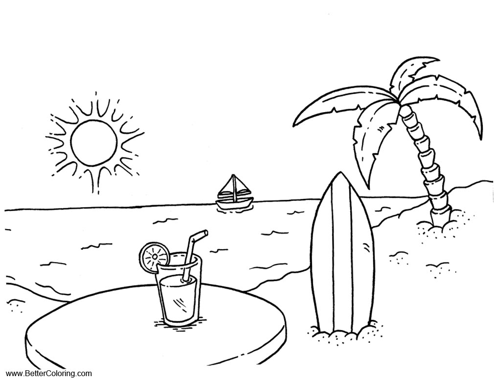 Free Summer Beach Fun Coloring Pages with Palm Tree and Drink printable
