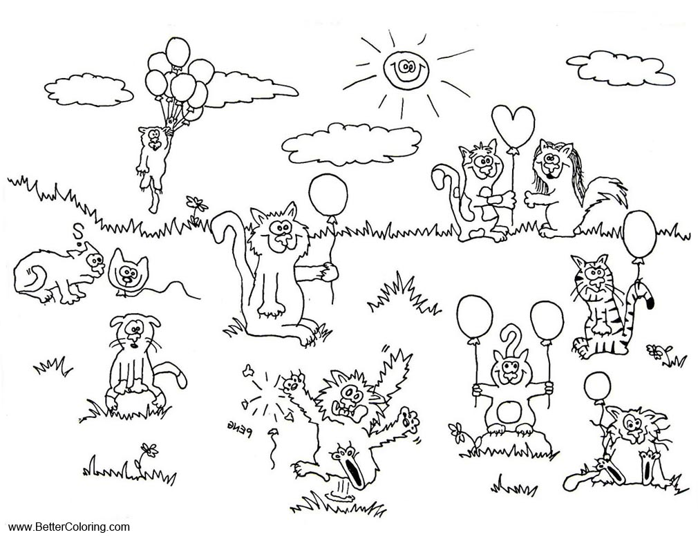 Free Summer Fun Coloring Pages Animals with Balloons printable