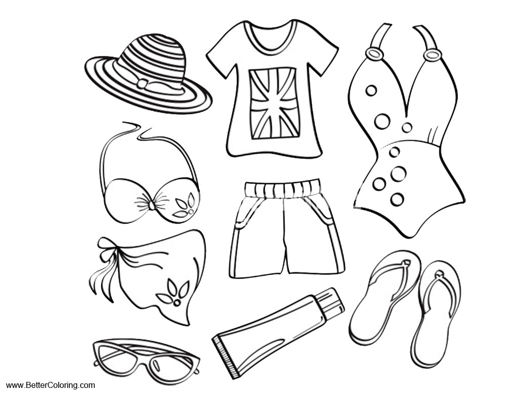 Summer fun coloring pages beach clothes free printable for Coloring pages of summer clothes