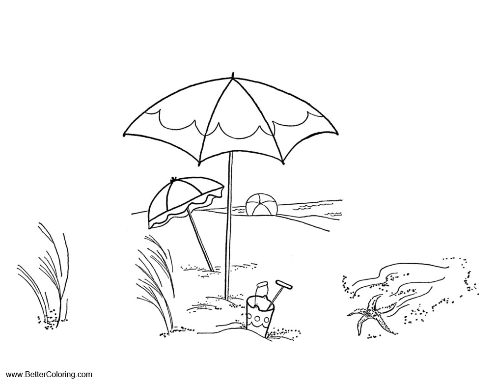 Free Summer Fun Coloring Pages Beach Landscape printable