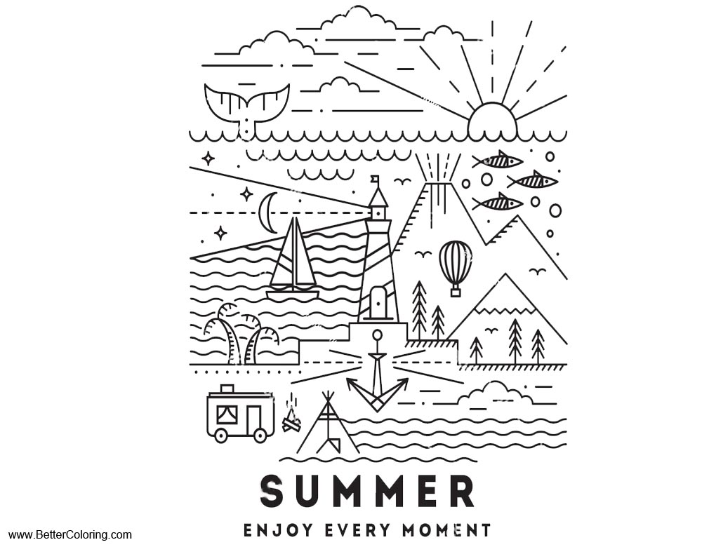 Free Summer Fun Coloring Pages Enjoy Every Moment Printable For Kids And  Adults.