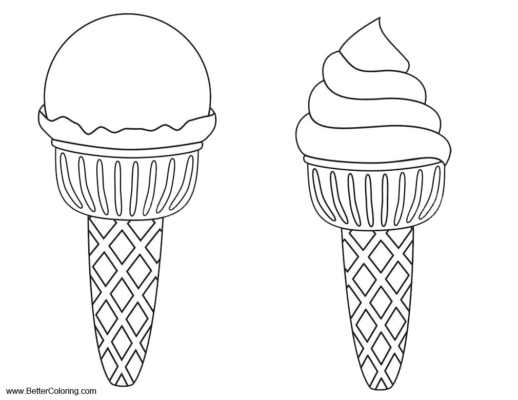 Free Summer Fun Coloring Pages Ice Cream Lineart printable