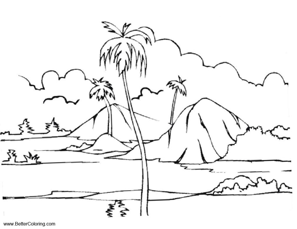 Free Summer Fun Coloring Pages Island Landscape printable