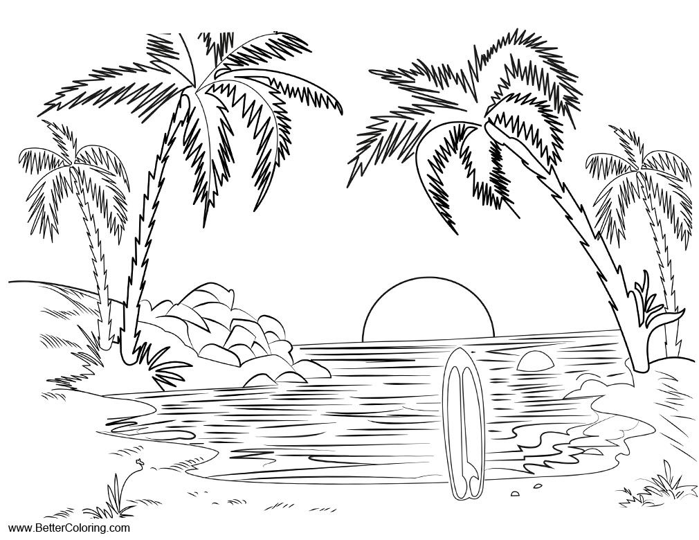 Summer Fun Coloring Pages Landscape Surfboard - Free Printable ...