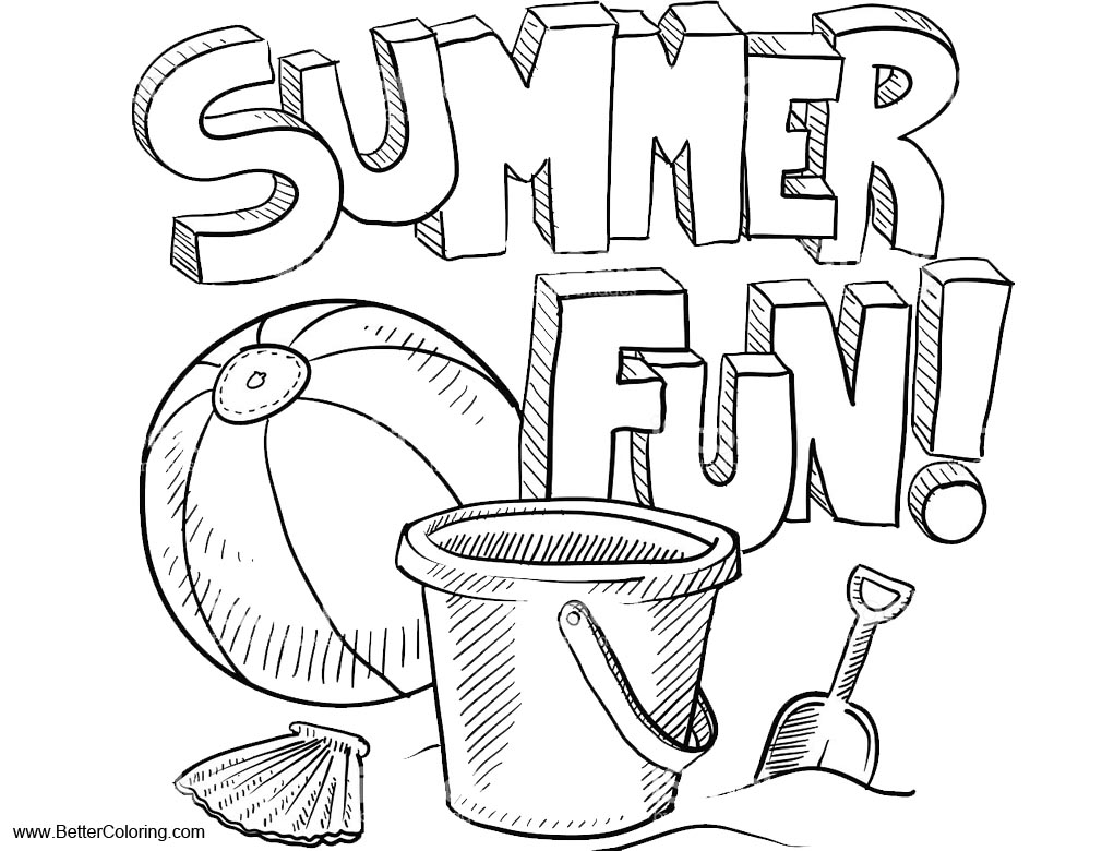 Free Summer Fun Coloring Pages Line Drawing printable