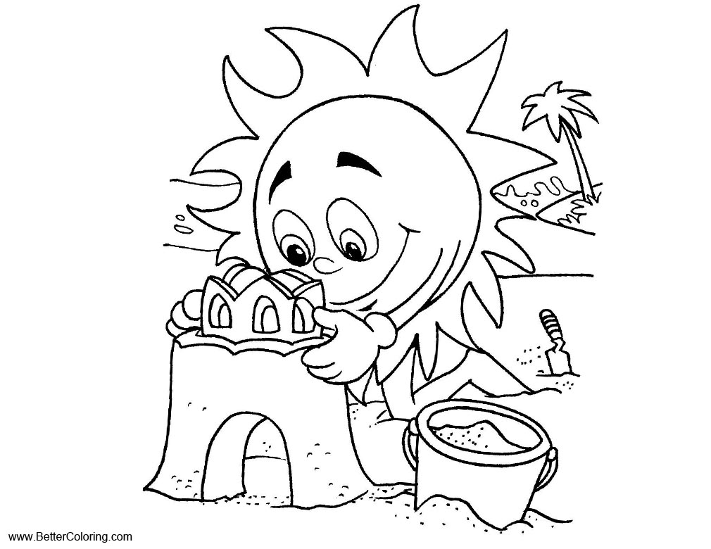 Free Summer Fun Coloring Pages Make Sand Castle printable