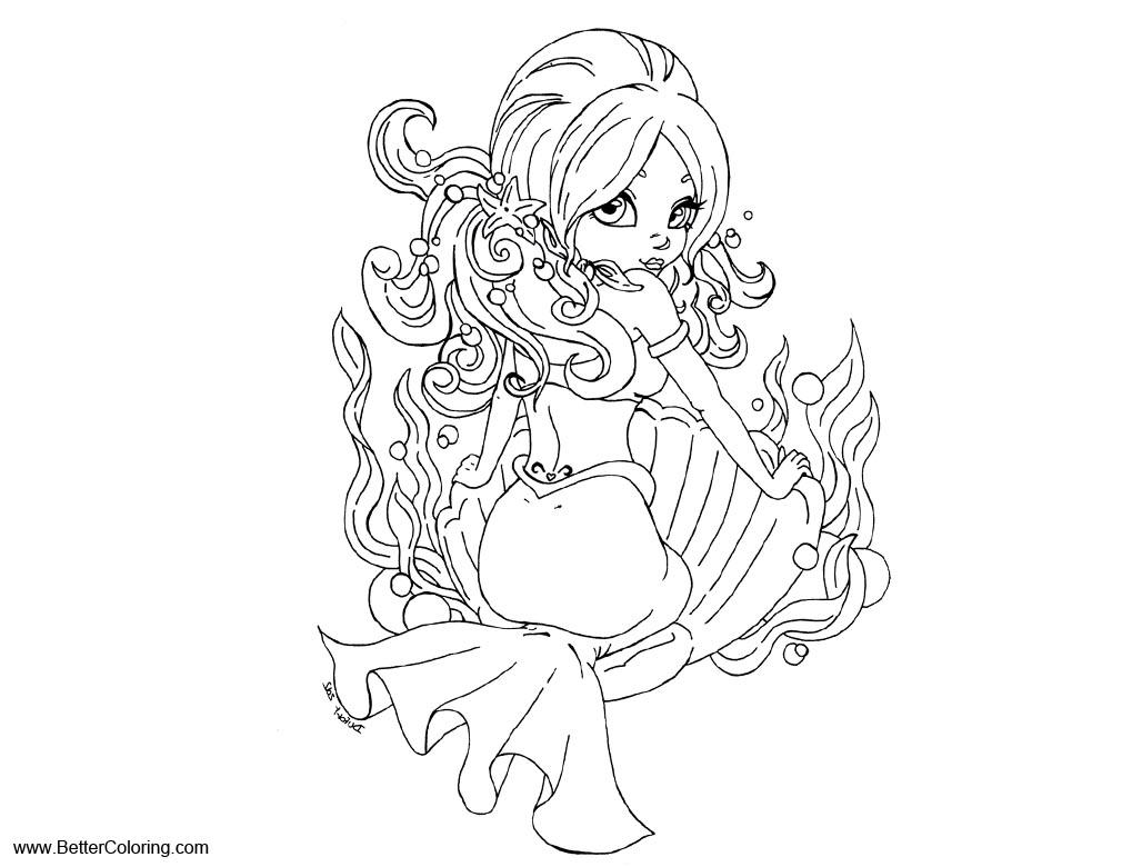 Free Summer Fun Coloring Pages Mermaid by JadeDragonne printable