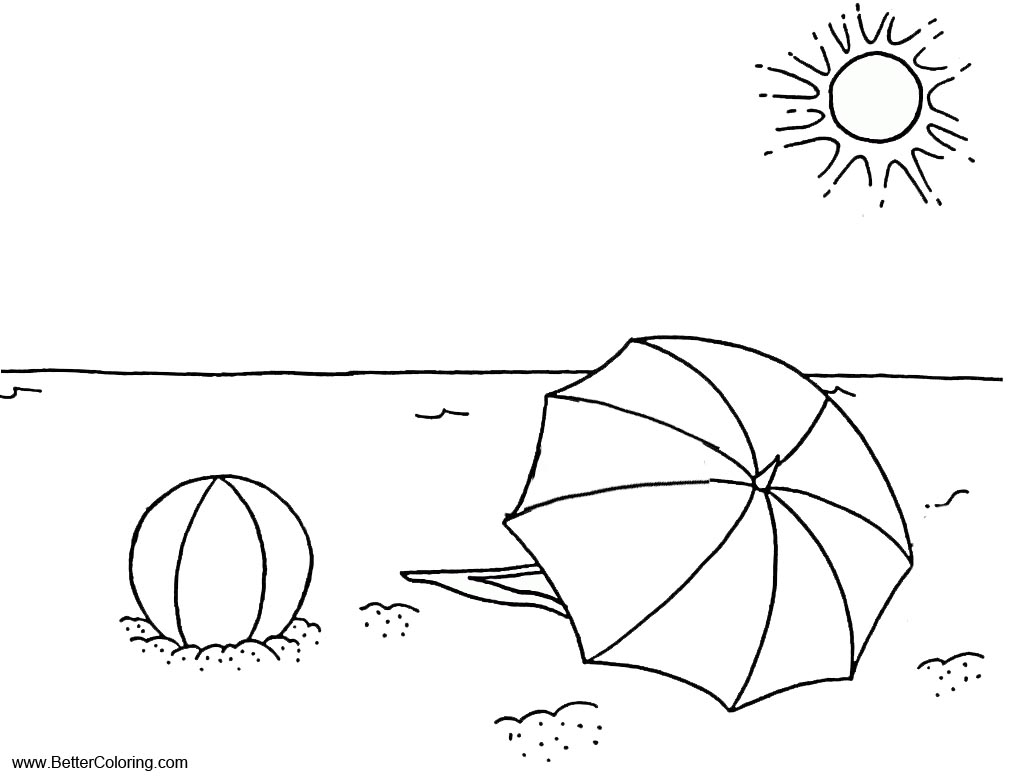 Summer Fun Coloring Pages Sea Landscape - Free Printable Coloring Pages