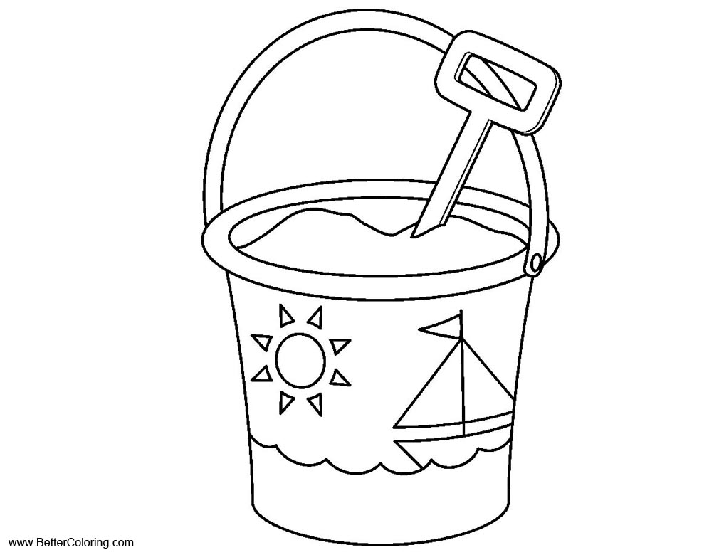 summer fun coloring pages shovel and pail free printable