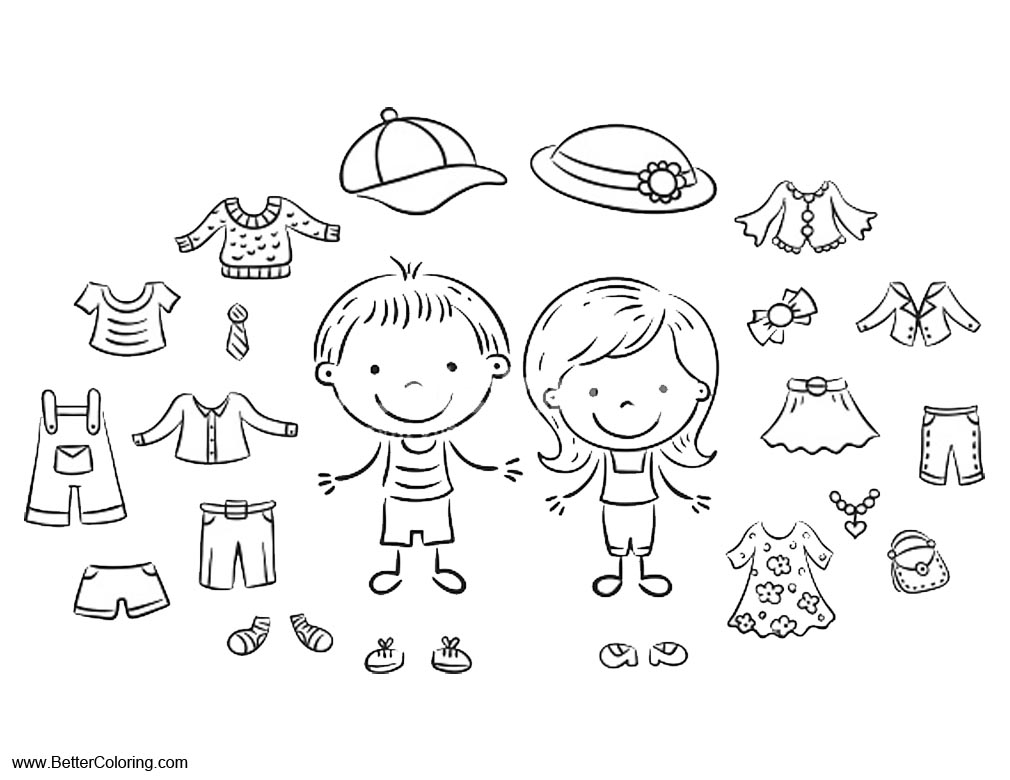 Summer fun coloring pages summer clothes free printable for Coloring pages of summer clothes