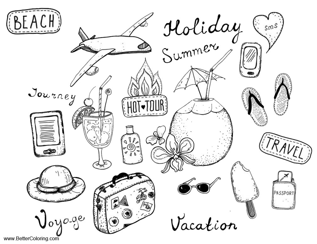 Free Summer Fun Coloring Pages Travel Journey Vacation printable