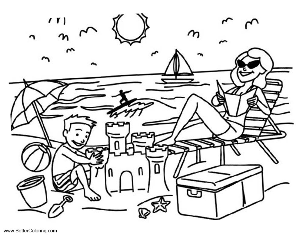 Summer Fun Coloring Pages Vacation on Beach - Free ...