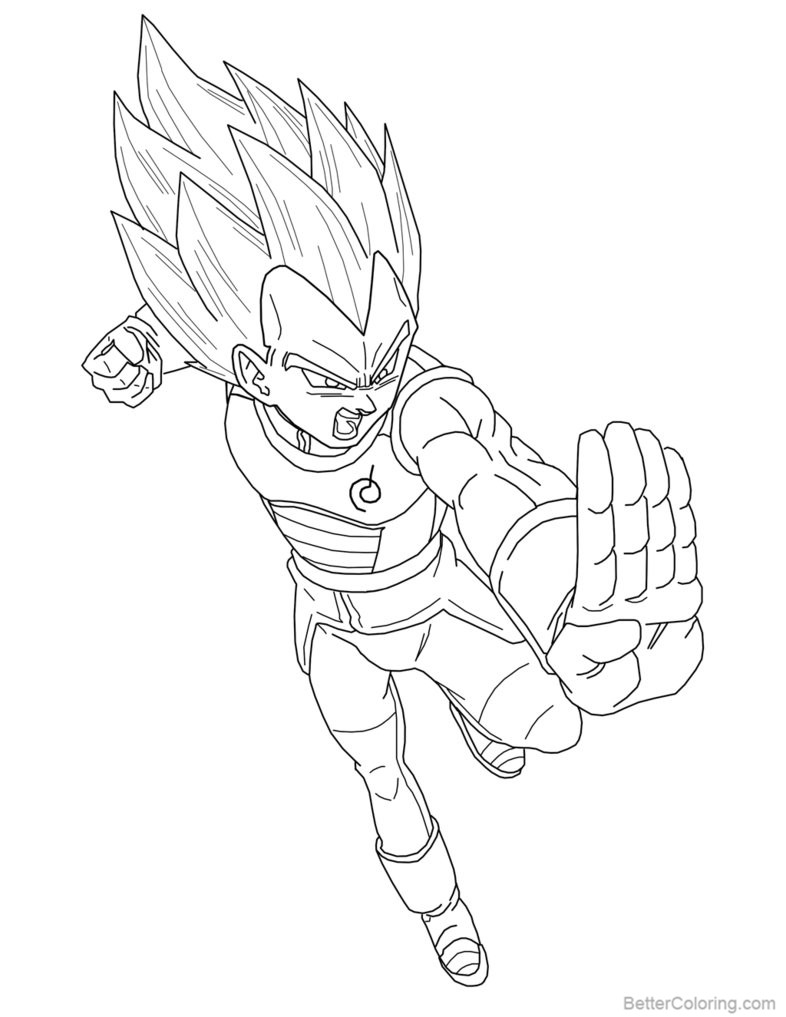 Free Super Saiyan Blue Vegeta Coloring Pages Lineart by Brusselthesaiyan printable
