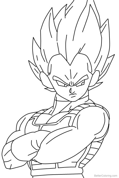 Super Saiyan Vegeta Coloring Pages Lineart by duskoy ...