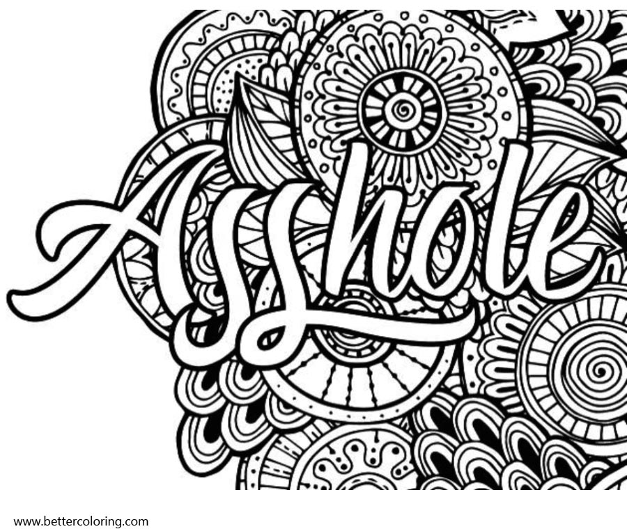 Swear Word Coloring Pages Asshole Free Printable Coloring Pages