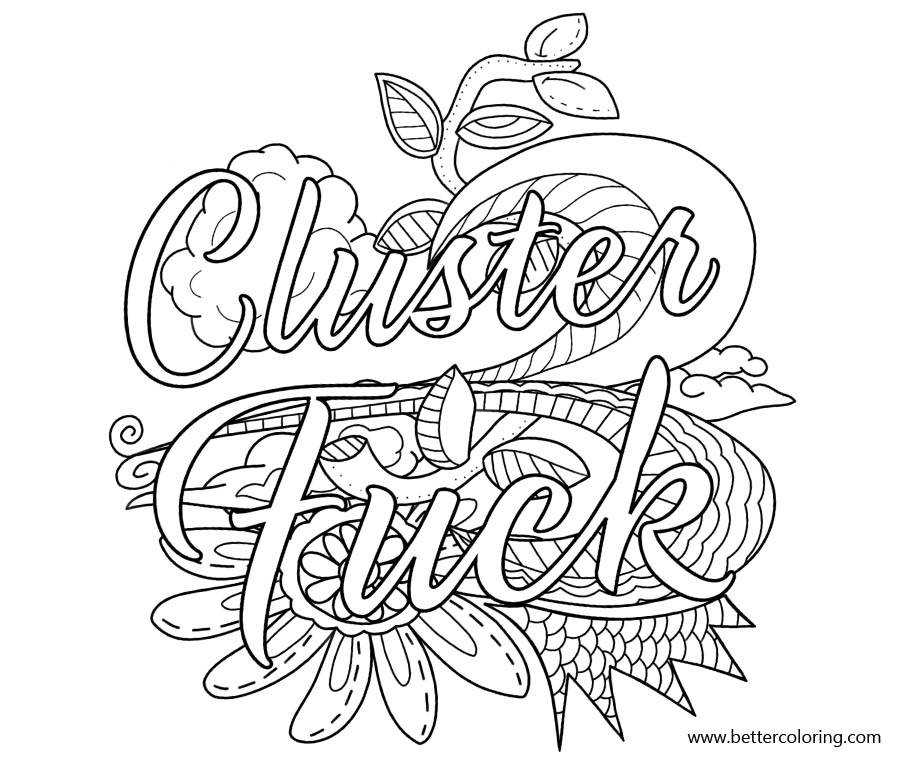 Free Swear Word Coloring Pages Cluster Fuck printable