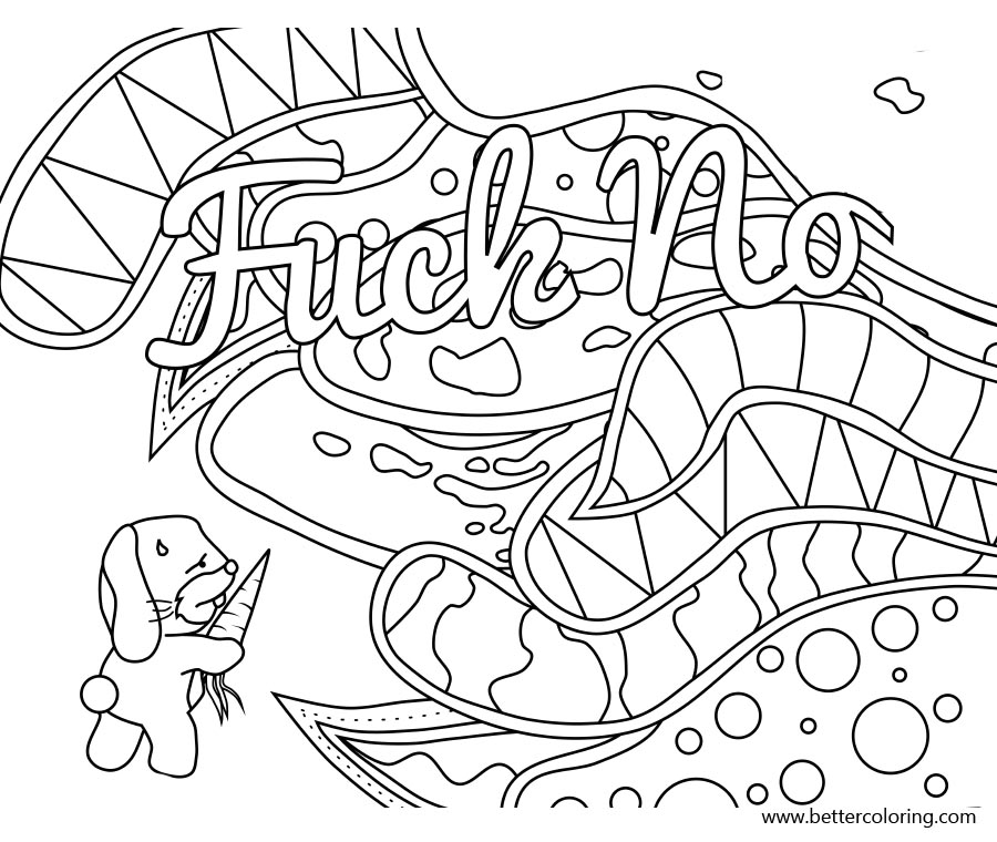 Free Swear Word Coloring Pages Fuck No printable