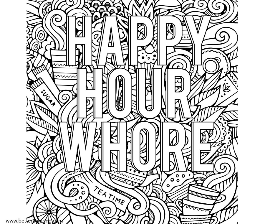 Free Swear Word Coloring Pages Happy Hour Whore printable
