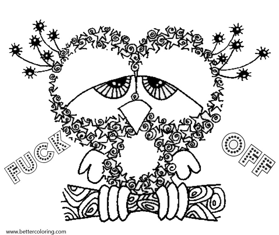 Free Swear Word Coloring Pages Owl printable