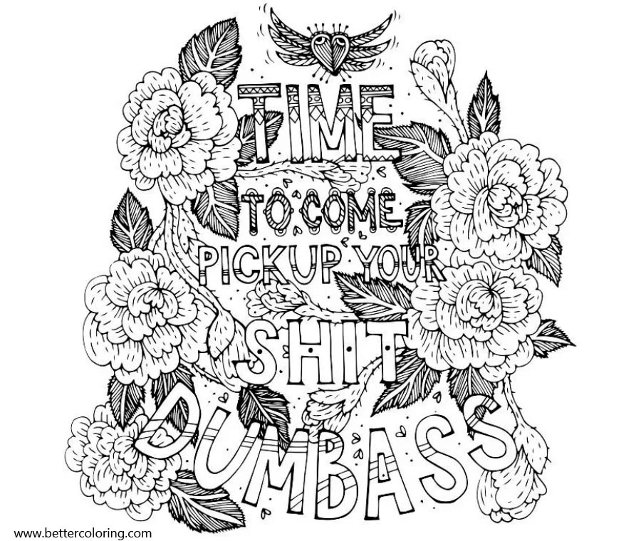 Free Swear Word Coloring Pages Time to Pick Up Your Dumbass printable