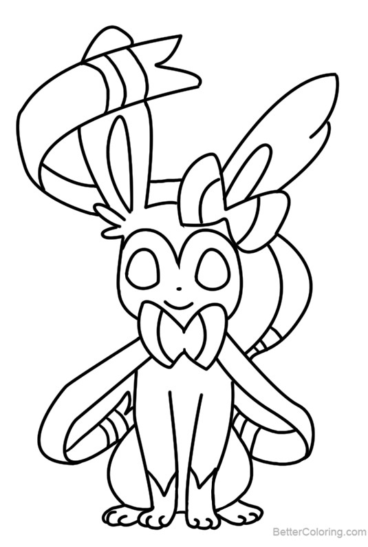 Free Sylveon Coloring Pages Line Art by Bellatrixie printable