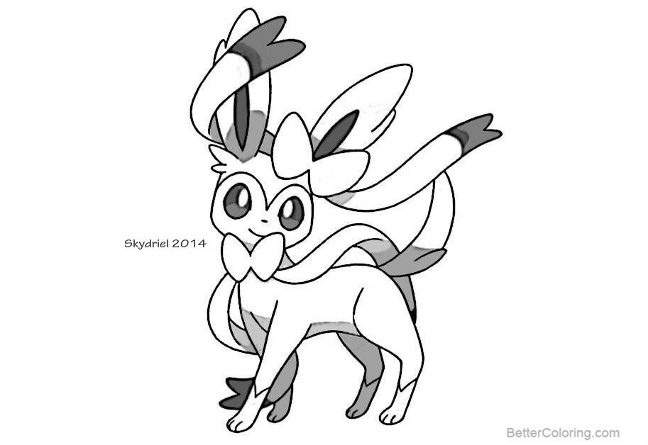 Free Sylveon Coloring Pages Sketch by skydriel printable