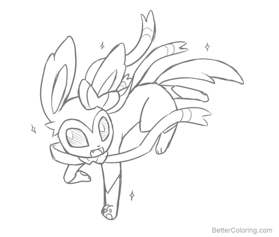 Free Sylveon Coloring Pages By Rakkushi Printable For Kids And Adults.