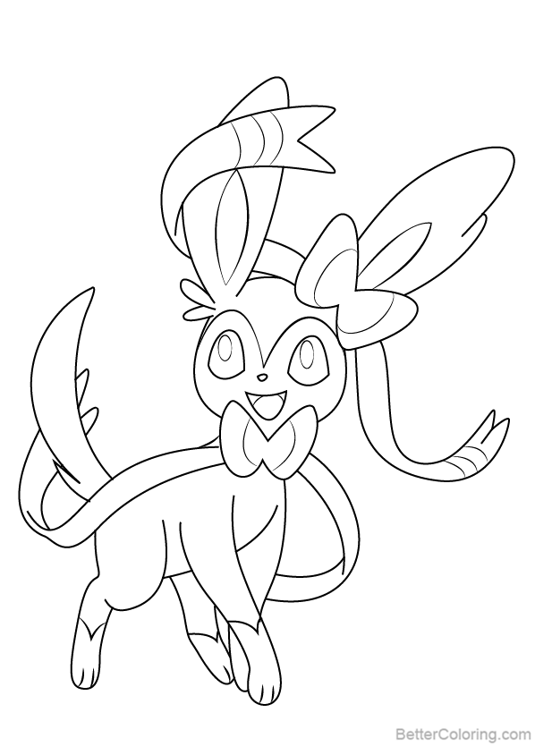 Sylveon Coloring Pages from Pokemon Free Printable Coloring Pages