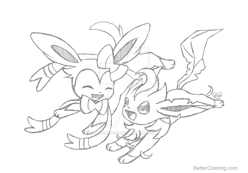 Free Sylveon Coloring Pages With Leafeon By Bluekiss131 Printable For Kids  And Adults.