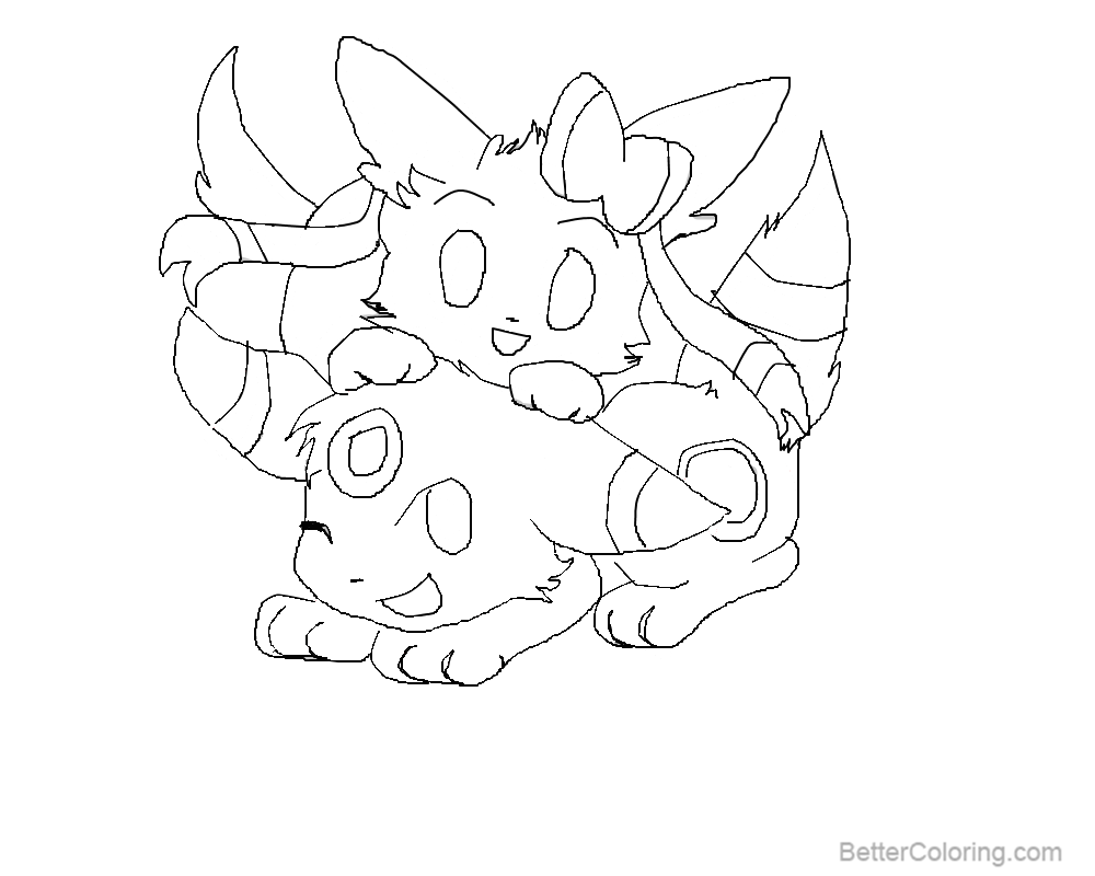 sylveon coloring pages with umbreon by 13girly free