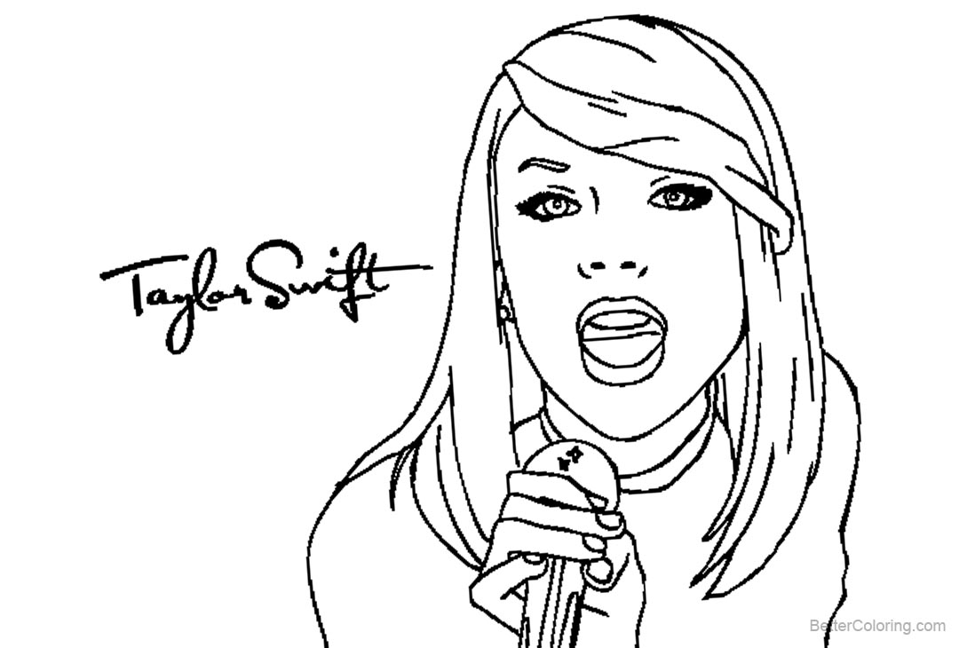 Free Taylor Swift Coloring Pages Clipart printable