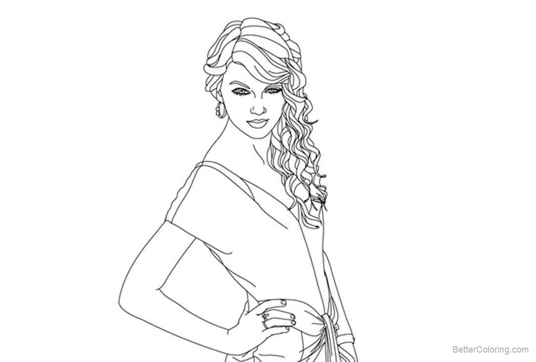 Taylor Swift Coloring Pages Lineart - Free Printable ...