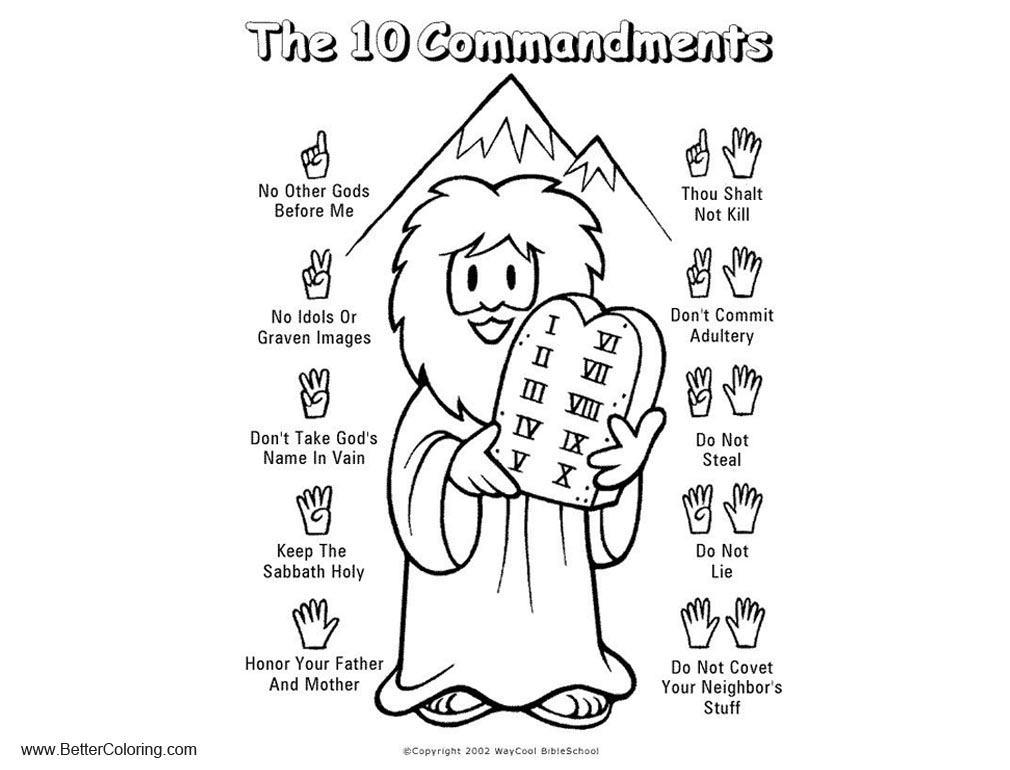 Free Ten Commandments Coloring Pages Black and White printable