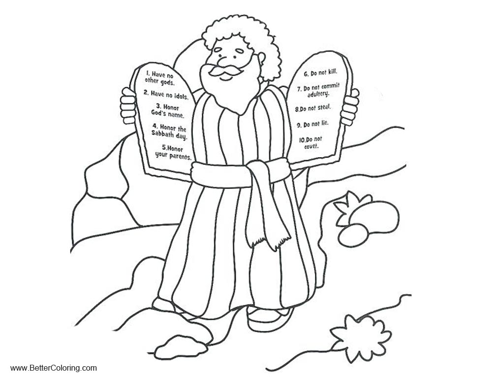 Free Ten Commandments Coloring Pages Line Drawing printable
