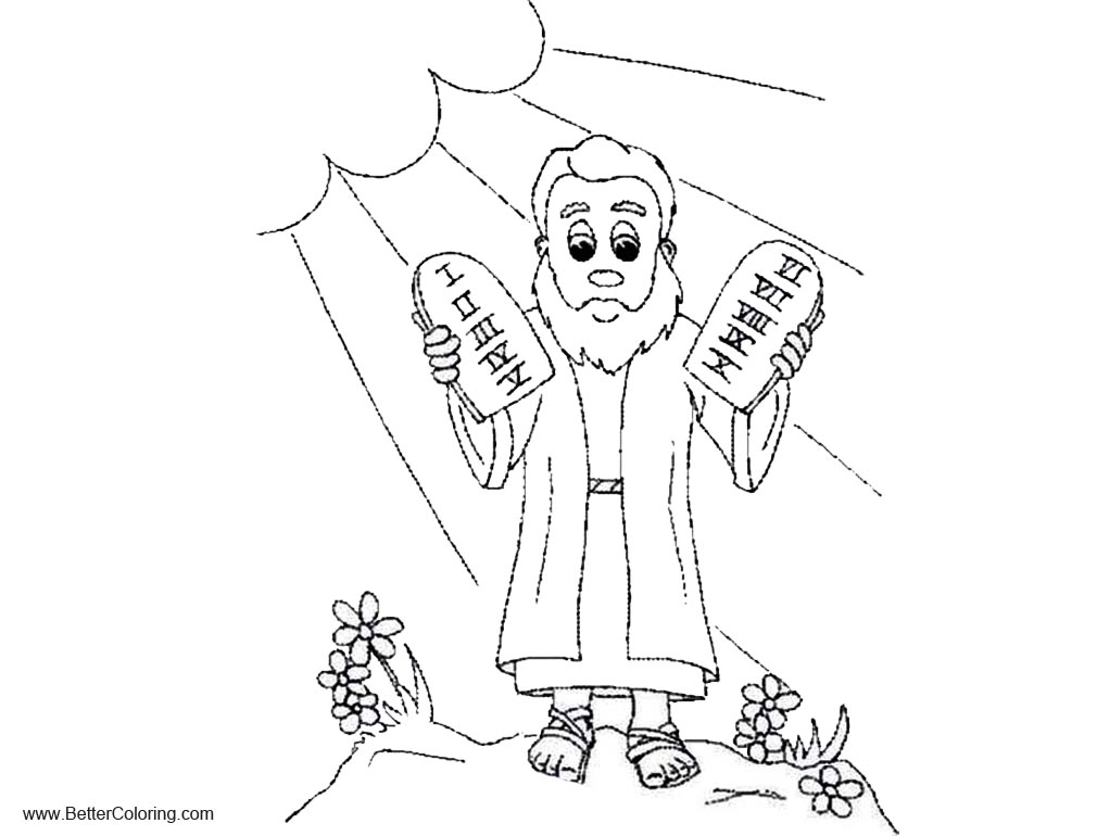 Ten Commandments Coloring Pages Moses Free Printable