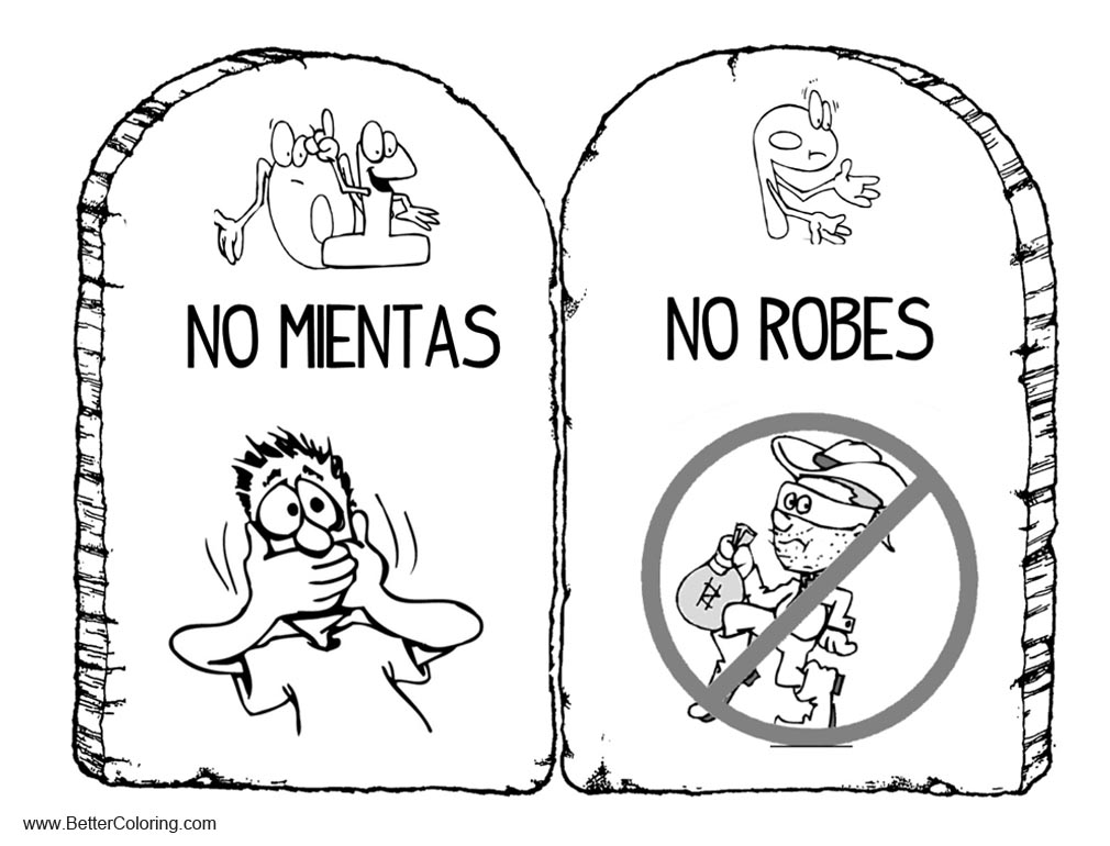 Free Ten Commandments Coloring Pages No Robes and No Mientas printable