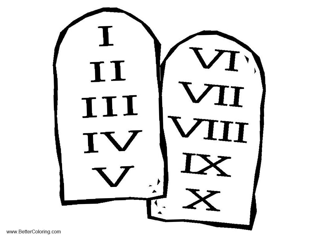 Free Ten Commandments Coloring Pages Sketch printable
