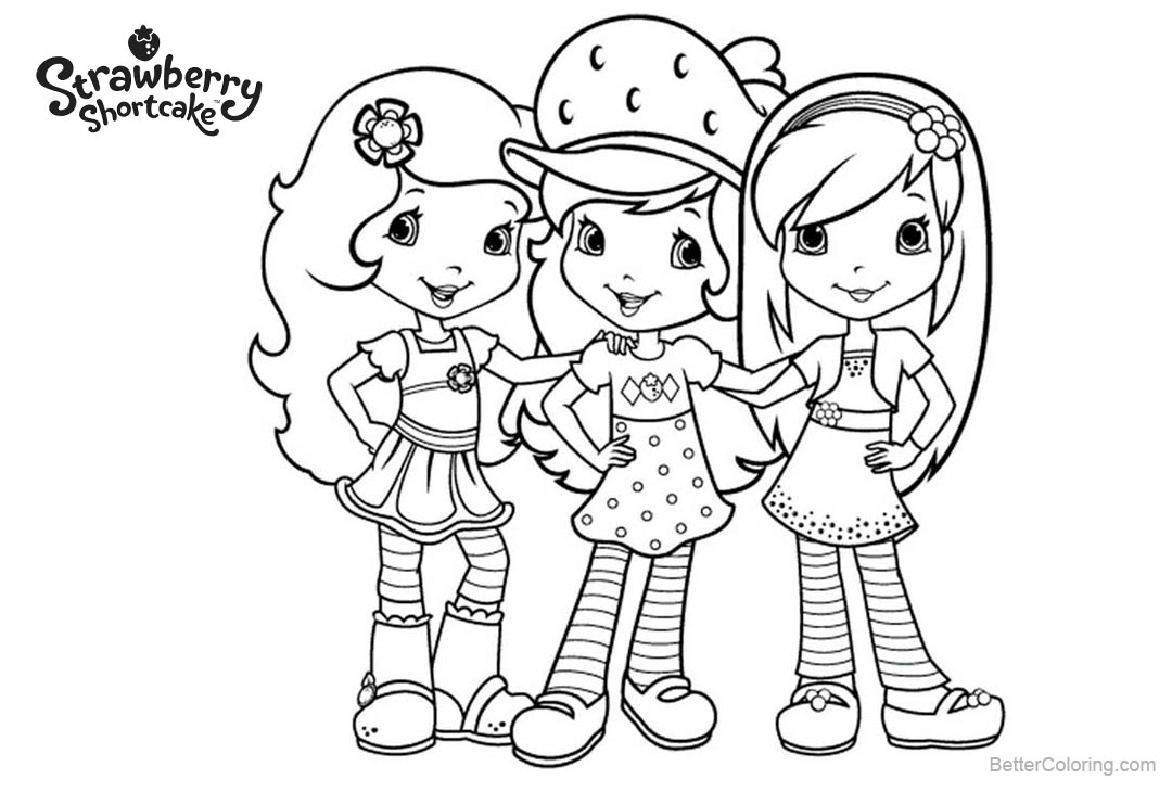 Free Three Characters from Strawberry Shortcake Coloring Pages printable