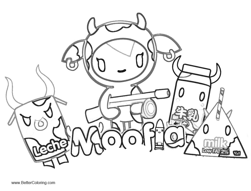 Free Tokidoki Coloring Pages Moofia and Milk printable
